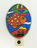 Vintage Stained Glass Colorful Ocean Fish Night Light