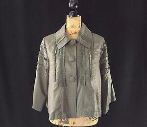 NEW Pretty Angel Large dress jacket dark green shimmer silk bl pleat swing NWT