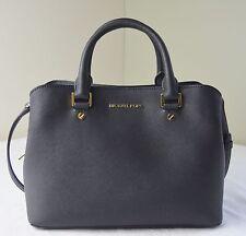 Michael Kors Black Saffiano Leather Savannah Medium Satchel