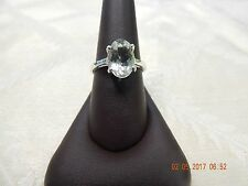 Green amethyst (prasiolite) solid sterling silver ring, size 9