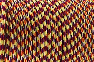 Vintage 2 Core Yellow / Red / Blue Houndstooth 0.75mm Cable - Round Cord Flex