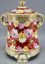 Royal Kinran Nippon Hand Painted Pink & Yellow Floral Red & Gold Moriage Humidor