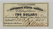 Pmg Au 50 Epq Confederate States of America Bond Coupon, $2 Bond for $50, 1861