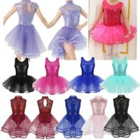 Girls Shiny Ballet Dance Tutu Dress Gymnastics Leotard Costume Skating Dancewear