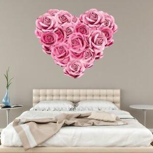 Rose Heart Rustic Wall Sticker Pink Art Bedroom Flower Pretty Girly Love Vintage