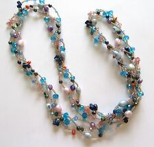 Fresh Water Pearl Necklace -braided- blue pink pearls -seed beads turquoise -34""