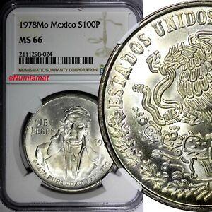 Mexico ESTADOS UNIDOS MEXICANOS Silver 1978 Mo 100 Pesos NGC MS66 KM# 483.2 (4)