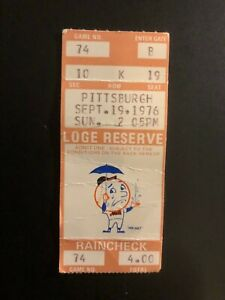 9/19/1976 METS USED BASEBALL RAIN CHECK TICKET METS vs.PITTSBURGH Game 74,Sea19