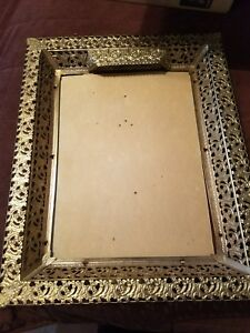 "Antique ~Vintage Ornate Mirror/ Picture Frame /with light  21"" x 17"""