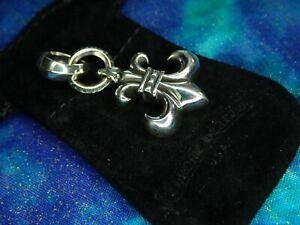 23.8 Grams Authentic Chrome Hearts Sterling Silver Fleur De Lis Charm Pendant