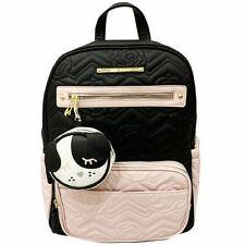 Betsey Johnson Diaper Bag Backpack Pink/Black Bag Charm Changing Pad 3 Piece Set