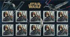 Star Wars - Boba Fett - MINI FOLDER con 10 francobolli Gran Bretagna 2015 GB