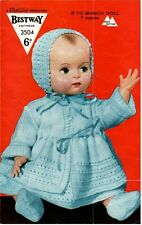 Vintage Baby Dolls Clothes Knitting Pattern Copy 45 - 50 cm ins dolls 4 ply