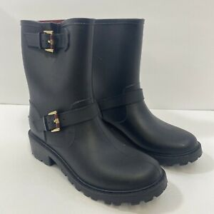 Tommy Hilfiger Womens Black Rain Boots Size 8M - Gold Buckle Accents TWDEW-M