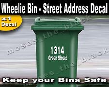 Wheelie Bin house and street Address Decal. * 15cm x 20cm. sticker, H.Q. Vinyl