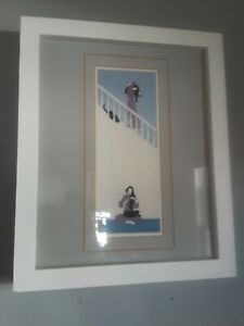 Will Barnet White Stairway Artist Proof signed Asian woman with cat
