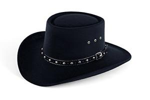 Western Faux Felt Gambler Cowboy Hat -Black L/XL Elastic Band