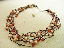 GENUINE PEARL CARNELIAN BEAD EARTH MULTI STRAND NECKLACE HIGH END JEWELRY VTG