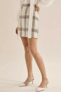 Country Road Check A-line Mini Skirt [6] NWT RRP$179 Cream Wool