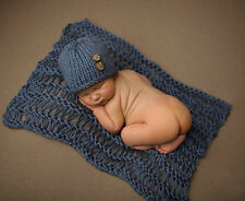 Newborn Baby Crochet Knit Soft Wrap Swaddle Blanket + Hat Photography Photo Prop