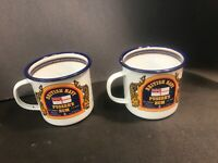 British Navy Pusser's Rum Tin Cup Enamel Coated Lot Of Two Some Chip