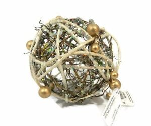 Pier 1 Imports Sphere Twigs Beads Decorative Ball Gold White Bowl Filler New