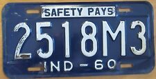 Indiana 1960 DEALER License Plate # 2518M3