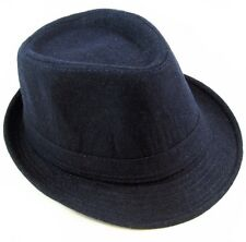 Cotton Fedora Hat Cap trilby Mens Navy Felt Womens Unisex fashion style NEW