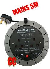 5M mains 240v socket adapter 2 way extension REEL cable plug power lead 10A 5M