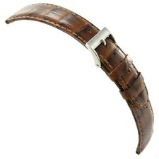 20mm Milano Genuine Leather Alligator Grain Tan Stitched Watch Band
