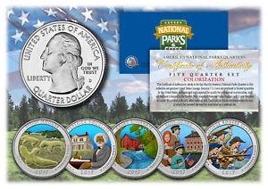 2017 America The Beautiful COLORIZED Quarters U.S. Parks 5-Coin Set w/Capsules