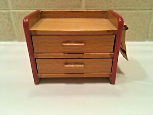 Vintage Dollhouse Miniature Low Dresser 2 Drawers Wood Red Trim West Germany