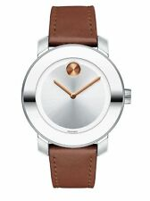 New Movado Bold Swiss Cognac Leather Strap Women's Watch 3600379