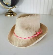 Carter's Girl's 12 - 24M Khaki Straw Hat Beach Sun Protection Pink Orange