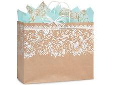 100 Brown Kraft paper shopping bags large Lace Print wholesale 16x6x13 Vogue