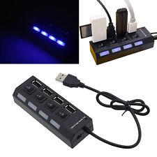 USB 2.0 Hub 4 Port Verteiler Switch mit LED Beleuchtung & Schalter für Notebook