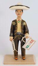 Charro/Horseman Lupita Doll Najaco Ceramic Figurine Brown  Mexican Folk Art