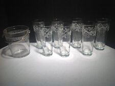 New listing 7- Frosted Drinking Glasses Printed Embossed & 1- Glass Ice Bucket W/ Handle