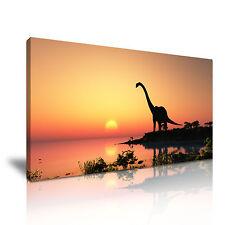 Dinosaur Sunset Lake Canvas Wall Art Picture Print 60x30cm
