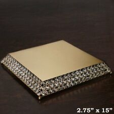 """Gold Metal 15"""" wide Cake Stand with Crystal Beads Party Wedding Reception Sale"""