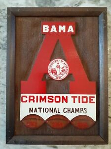 RARE Vtg 1960s UNIVERSITY of ALABAMA CRIMSON TIDE Football CHAMPIONSHIP PLAQUE