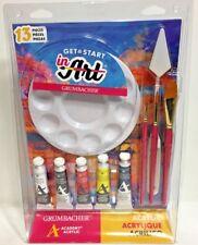 Grumbacher Academy Acrylic Paint Starter set Brushes Knife Palette Canvas panel