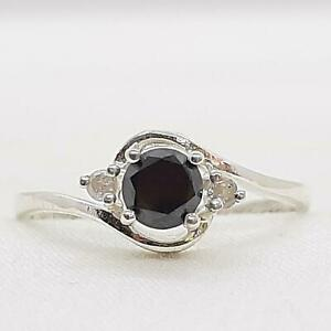 $999 14K White gold plate/925 Genuine .70ctw Fancy Black Diamond Engagement Ring