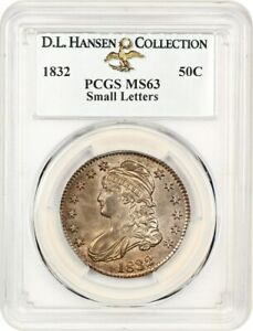1832 50c PCGS MS63 (Small Letters) ex: D.L. Hansen - Bust Half Dollar