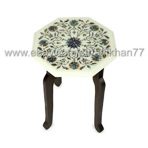 Traditional Side Table White Marble Inlay Small Coffee Table Pietra Dura Art