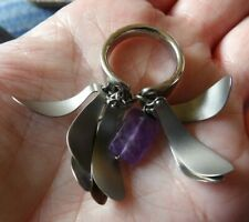 LADIES STAINLESS STEEL BREIL ANELLO RING WITH GENUINE AMETHYST SIZE L  YNWA62-1