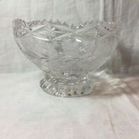 Vintage Lead Cut Crystal Footed Bowl Etched Rose Sawtooth