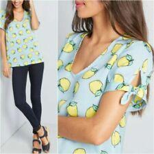 Modcloth Womens Lemon Print Blue Career Polyester Top Size S (B52)