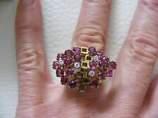 Vintage 14K Yellow Gold Ruby Diamond Cut Out MODERNIST Cocktail Ring Size 6.25