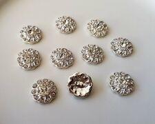 10 x 12mm Flower Crystal, Rhinestones Metal - Flat back, Crafting & Scrapbooking